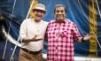 Renato Aragão e Dedé Santana no set de 'Saltimbancos Trapalhões: Rumo a Hollywood'