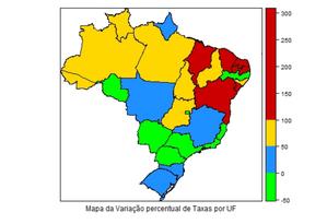 Mapa revela que regiões Nordeste e Norte apresentaram maior crescimento de homicídios entre 2004 e 2014 Foto: Divulgação / IBGE
