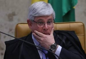 O procurador-geral da República, Rodrigo Janot, durante sessão no Supremo Tribunal Federal Foto: André Coelho / Agência O Globo