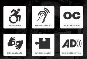 Símbolos dos filtros usados para deficientes físicos e pessoas com mobilidade reduzida Foto: Reprodução
