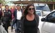 Mônica Moura ao chegar para fazer exame de corpo delito no IML em Curitiba, em fevereiro