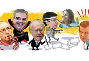 Os personagens da planilha da Odebrecht Foto: Arte O Globo / Ilustração