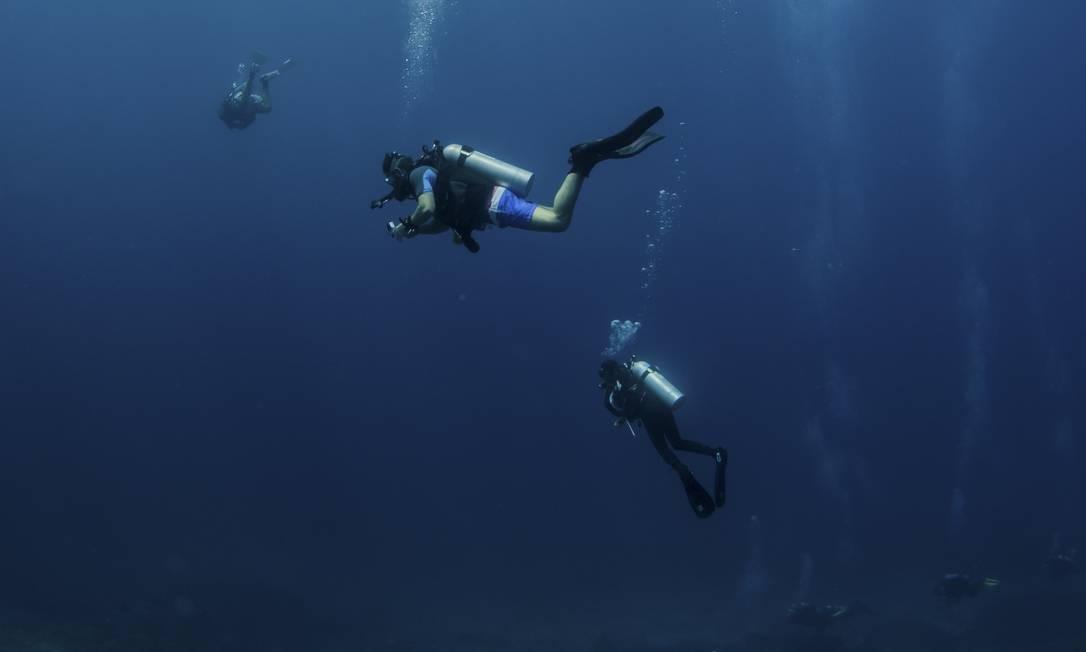 Sob a água. Mergulhadores nas águas claras da famosa Richelieu Rock Foto: Caine Delacy / The New York Times