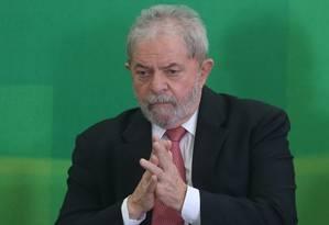 O ex-presidente Lula durante sua posse como ministro da Casa Civil no Palácio do Planalto Foto: André Coelho / Agência O Globo