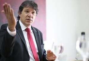O prefeito de São Paulo, Fernando Haddad Foto: Marcos Alves / Agência O Globo