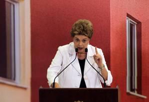 Dilma Rousseff, durante cerimônia de lançamento do Programa Minha Casa Minha Vida 3, no Palácio do Planalto Foto: Givaldo Barbosa / Agência O Globo