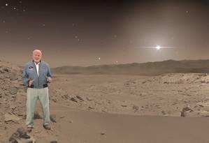 O ex-astronauta Buzz Aldrin, segunda pessoa a andar pela Lua, em cena do passeio virtual por Marte que será nova atração do Centro Espacial Kennedy da Nasa, na Flórida Foto: Nasa/JPL-Caltech/Microsoft