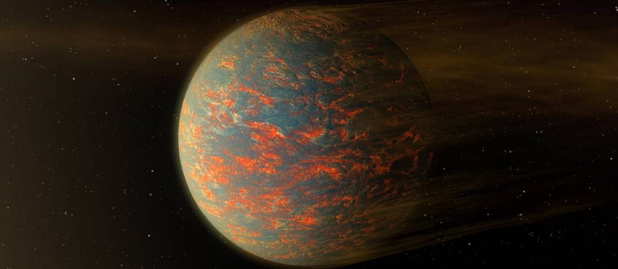 Ilustração do planeta extrassolar 55 Cancri e mostra os fluxos e piscinas de lava na sua superfície que podem explicar as grandes diferenças de temperaturas encontradas entre seus lados de 'dia' e 'noite' Foto: Nasa/JPL-Caltech