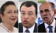 Os ministros Kátia Abreu (Agricultura), Eduardo Braga (Minas e Energia), Marcelo Castro (Saúde)