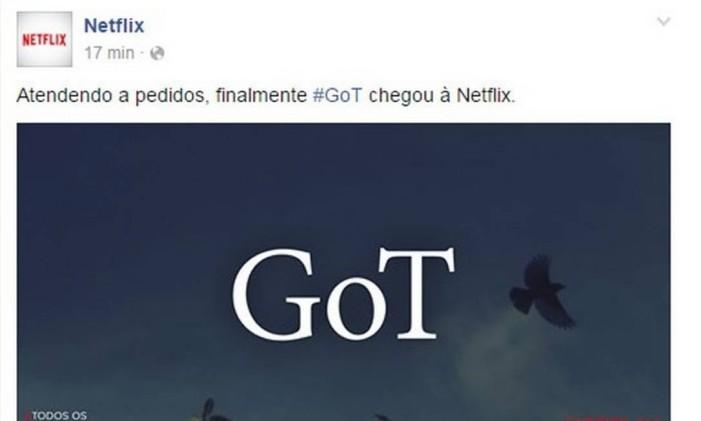 Netflix brinca com a chegada de 'Game of Thrones', série da HBO, no 1º de abril Foto: Reprodução