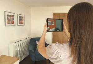 O aplicativo da Coral permite a testagem de cores em paredes e teve 3 milhões de downloads somente no ano passado Foto: Divulgação
