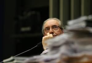 O presidente da Câmara dos Deputados, Eduardo Cunha, em sessão no plenário Foto: Ailton Freitas / Agência O Globo