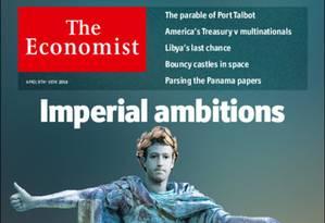 """A capa da revista """"The Economist"""" traz Zuckerberg no estilo Imperador, devido às suas grandes ambições Foto: Reprodução"""