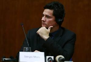O juiz Sérgio Moro participa de seminário em São Paulo em março: nos EUA, ele defendeu que processos de corrupção sejam públicos Foto: Edilson Dantas / Agência O Globo/29-3-2016