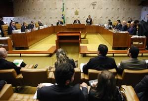 Supremo em sessão. Ministros da Corte máxima do país já estabeleceram regras para o rito do processo do impeachment em curso no Congresso Nacional Foto: Divulgação/STF/17-2-2016