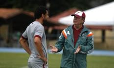 Fred e Levir: ídolo e e capitão do Flu se acertou com o treinador Foto: Nelson Perez/Fluminense FC