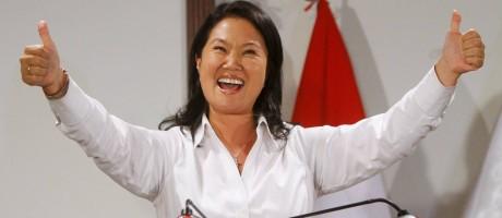 A candidata à presidência do Peru Keiko Fujimori em entrevista coletiva após a eleição Foto: STRINGER / REUTERS