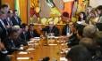 O presidente da Câmara, Eduardo Cunha (PMDB-RJ), conduz reunião de líderes partidários