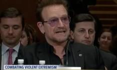 Bono fala sobre extremismo em comitê do Senado americano Foto: Reprodução