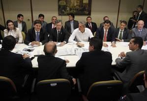 Bancada do PSD se reúne e anuncia que maioria votará a favor do impeachment Foto: Givaldo Barbosa / Agência O Globo