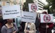Jornalistas fazem protesto por liberdade de imprensa