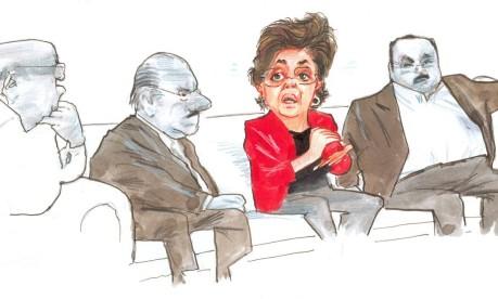 """Reunião. Dilma é retratada por Chico Caruso pela primeira vez. Na legenda: """"Aqui entre nós, me sinto a Gisele Bundchen!"""" Foto: Chico Caruso 11/11/2005 / Agência O GLOBO"""