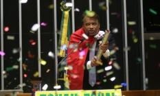 Deputado Wladimir Costa dispara rojão de confete no momento de seu discurso Foto: Antônio Barboza/Divulgação do Solidariedade