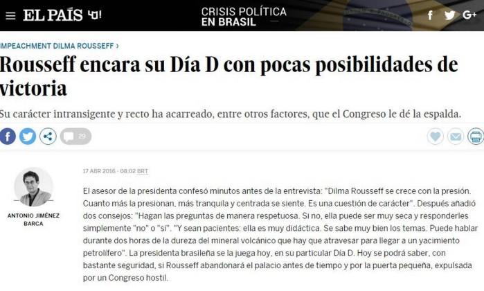 Resultado de imagem para manchetes de jornais internacionais a favor do impeachment