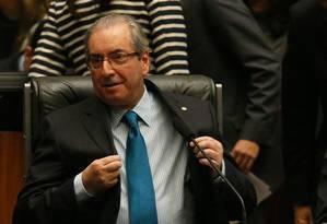 O presidente da Câmara, Eduardo Cunha (PMDB-RJ), no plenário da Casa durante votação Foto: Ailton de Freitas / Agência O Globo