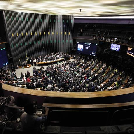 A votação do impeachment contra a presidente Dilma Rousseff na Câmara dos Deputados Foto: Givaldo Barbosa / Agência O Globo / 17-4-2016