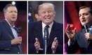 Montagem mostra os pré-candidatos Ted Cruz (à dir.), Donald Trump (centro) e John Kasich (à esq): rivais buscam indicação republicana Foto: DSK / AFP