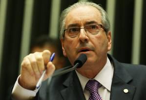 O presidente da Câmara, Eduardo Cunha (PMDB-RJ) na sessão desta terça-feira Foto: Ailton de Freitas / Agência O Globo / 26-4-2016