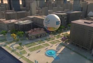 Balão panorâmico ficará perto da Igreja da Candelária Foto: Divulgação / Prefeitura