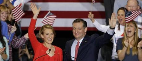 Cruz apresenta Carly Fiorina como sua vice caso obtenha a indicação do Partido Republicano Foto: AP