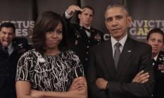 Barack e Michelle Obama brincam com principe Harry e rainha Elizabeth Foto: Reprodução