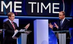 Enda Kenny e Michael Martin debatem em Dublin antes de eleições: apesar de rixa, acordo selou formação de governo Foto: MAXWELL / AFP