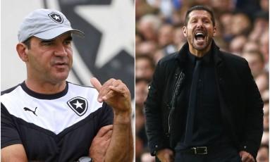 Com personalidades distintas, Gomes e Simeone acharam padrões de jogo semelhantes para Botafogo e Atlético de Madrid Foto: Fotos de Vitor Silva/SSPress e Eddie Keogh/Reuters