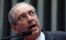 Na mira do STF. Cunha no plenário da Câmara: Supremo avalia alternativa ao afastamento Foto: Ailton de Freitas/27-4-2016