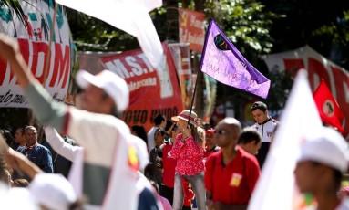 Ato da CUT no Vale do Anhangabau. Foto Pedro Kirilos / Agencia O Globo Foto: Agência O Globo