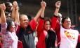 Presidente Dilma Rousseff em ato pelo Dia do Trabalhador, em São Paulo
