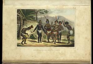 """""""Viagem pitoresca e histórica ao Brasil"""", de Jean Baptiste Debret, em álbum editado em 1834 por Firmin Didot Frères, do Acervo da Biblioteca Nacional Foto: Divulgação"""