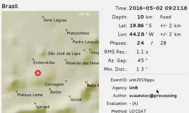 Relatório do Observatório Sismológico de Brasília sobre tremor Foto: Divulgação/Obsis