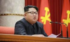 Kim Jong-Un comparece a evento oficial em Pyongyang Foto: KCNA / AFP