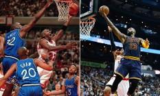 LeBron James (à esquerda) substituirá Michael Jordan (à direita) em novo 'Space jam' Foto: Imagens de arquivo