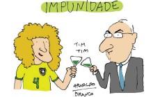 David Luiz e Eduardo Cunha Foto: Arnaldo Branco