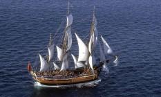 Uma réplica da Endavour, construída na Austrália Foto: Australian National Maritime Museum