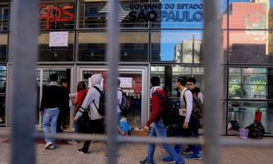 Alunos ocupam prédio do Centro Paula Souza no centro de São Paulo Foto: Pedro Kirilos / Agência O Globo