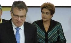 O ministro Eugênio Aragão, em evento com a presidente Dilma Foto: Isaac Amorim / Ministério da Justiça