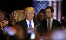 Donald Trump comemora vitória junto com seus partidários na Trump Tower, em Manhattan Foto: LUCAS JACKSON / REUTERS