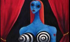 """""""Menina azul com vinho"""", pintura à óleo de Tim Burton. Tela de 1997 faz parte da exposição Foto: Divulgação"""